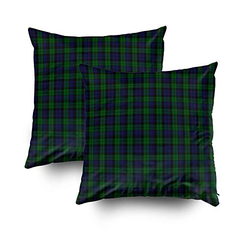 Musesh Christmas Pack of 2 Tartan Accent Cushions Case Throw Pillow Cover for Sofa Home Decorative Pillowslip Gift Ideas Household Pillowcase Zippered Pillow Covers 16x16Inch ()