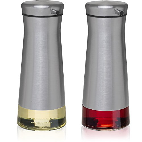 CHEFVANTAGE Olive Oil and Vinegar Cruet Dispenser Set with Elegant Glass Bottle and Drip Free Design - Stainless Steel (Stainless Oil)