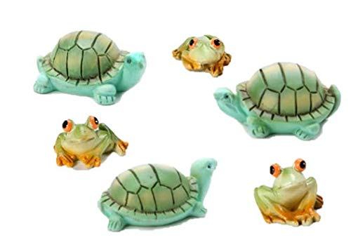 M&E 1/2 Dozen (Set of 6) Mini Reptile Figures! 3 Frogs & 3 Turtles All 1 Inch! Perfect for Fairy Gardens, Indoor/Outdoor Decor and More! Dollhouse Doll House Miniature