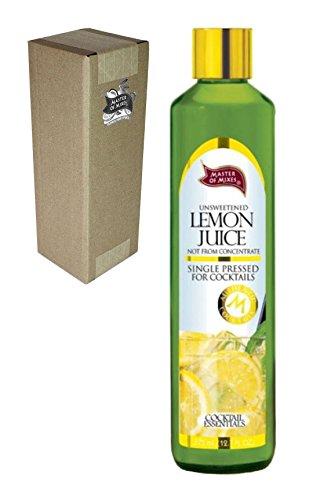 Master of Mixes Cocktail Essentials Single Pressed Lemon Juice, 375 ML Glass Bottle (12.7 Fl Oz), Individually Boxed (Margarita Lemon Juice)