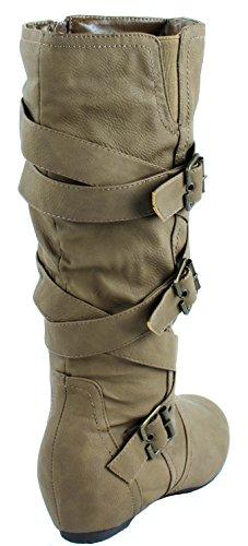 Mode Fokus Kvinna Kizzy-12 Faux Läderstövlar Med Criss Korsade Spänne Remmar Kamel