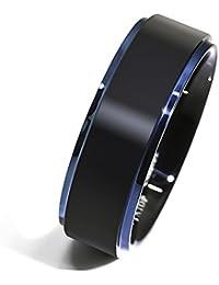 8mm Comfort Fit Tungsten carbide Ring Black Brushed Blue...