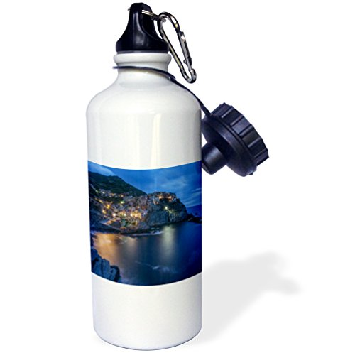3dRose wb_227704_2'' Italy Cinque Terre Manarola at Dawn Flip Straw Water Bottle, 21 oz, White by 3dRose