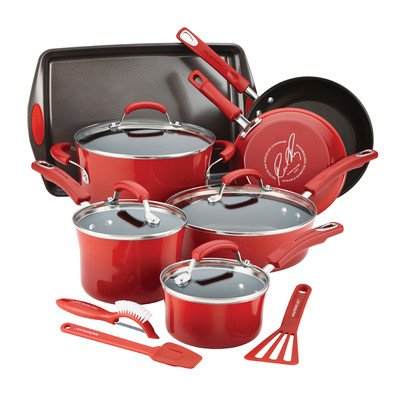 Rachael Ray Red Cookware Set Pots Pans 14 Pieces