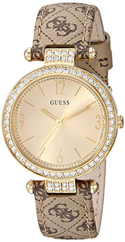 - GUESS Brown Genuine Leather + Gold-Tone Logo Crystal Watch. Color: Brown (Model: U1230L2)