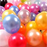 100 PCS 12 Inches Large Big Round Shiny Pearlescent Pearlized Rainbow Assorted Color Biodegradable Latex Balloons Bulk Helium Gas or Air Inflated for Kids Birthday Party Decorations Supplies Favors