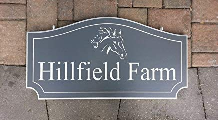 bawansign Horse Farm Sign Plaque Personalized Outdoor Hanging Sign Plaque with Farm Name ()