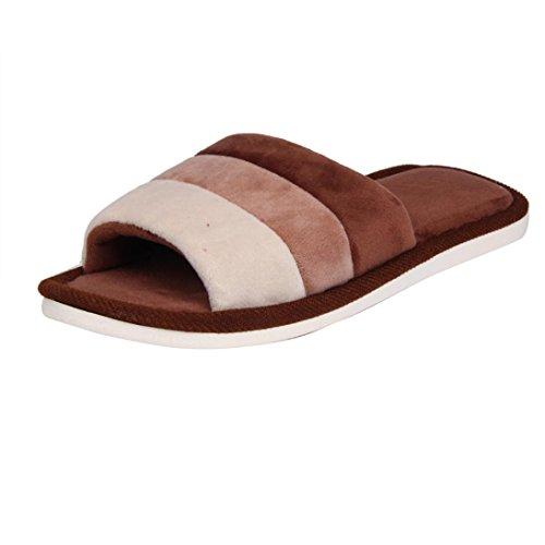 Le Donne Di Sunfei Morbide Calde Al Coperto Caramelle Colori Pantofole Di Cotone Casa Antiscivolo Scarpe Caffè