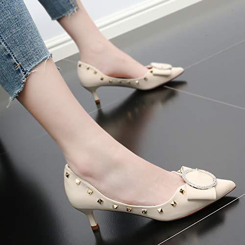 Rivets Shallow Black Drill Shoes Thin High Pointed Bow Shoes Mid SFSYDDY Autumn Women'S Tie Heeled Heel Single Fashion Heel 5Cm xO8R7PH