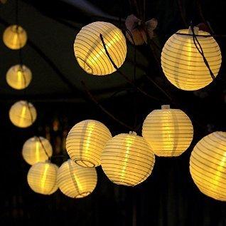 Aehma Sonnen Licht Sensor LED Solarleuchte Lampions Lichterkette Mit 33m Lnge Warmweiss Lichtfarbe Fr Tarresse
