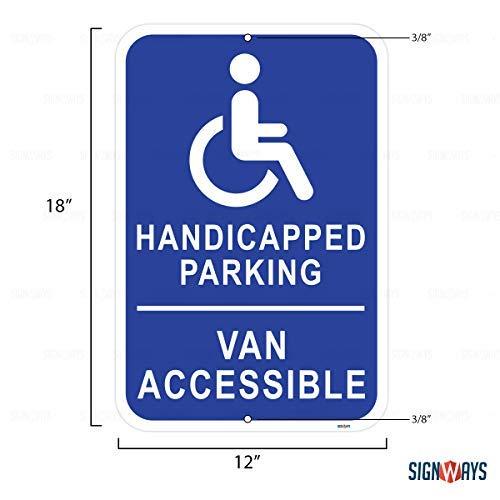 (Handicapped Parking, Van Accessible Sign, Includes Holes, 3M Quality Reflective, Aluminum, 12