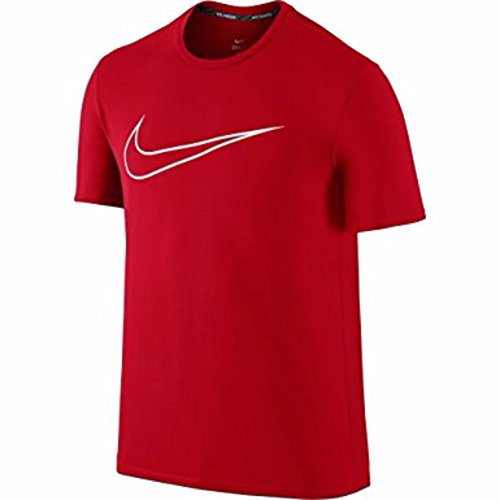 Nike Dri-FIT Contour Mens Running Shirt (X-Large, Challenge Red/White) by NIKE