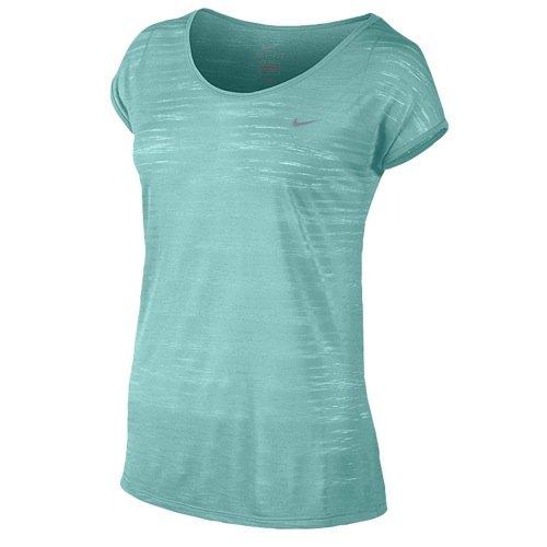 (Nike Women's Dri-FIT Cool Breeze Short Sleeve Top, Light Aqua/Reflective Silver SM)