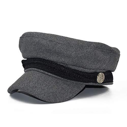 British Newsboy Caps Spring Women Wool Octagonal Hat Warm Retro Military Visor Cap