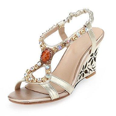RTRY Sandalias De Mujer Zapatos Club Microfibra Primavera Verano Otoño Boda Oficina &Amp; Carrera Club Vestir Zapatos De Tacón De Cuña De Oro Rhinestone Gore2En-2 Gold Us6 / Ue36 / Uk4 / Cn36 US7.5 / EU38 / UK5.5 / CN38