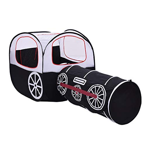 Pratcgoods Cartoon Train Two-in-one Playhouse Foldable Children's Play Tents & Tunnels Crawling Tunnel Tube Game House Tent for Boy Girl Baby Indoor Outdoor