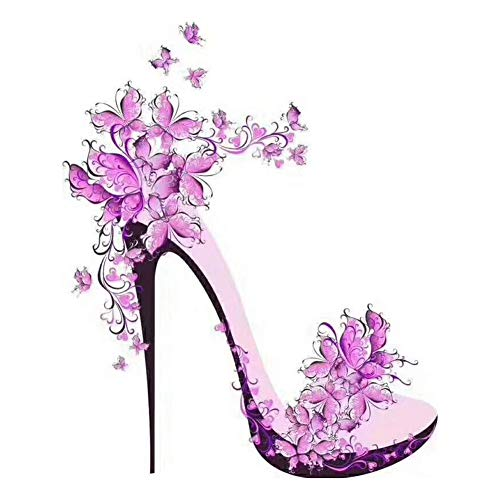 DIY 5D Diamond Painting Kits for Adults Full Drill Embroidery Pictures Arts Crafts for Home Wall Decor Purple Flower High Heels with Butterflies 11.8x15.7in 1 Pack by Light S Direct (Sale Rooster For Paintings)