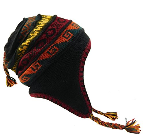 Alpaca Hat with Earflaps 100% Lining (Black Multi Color)