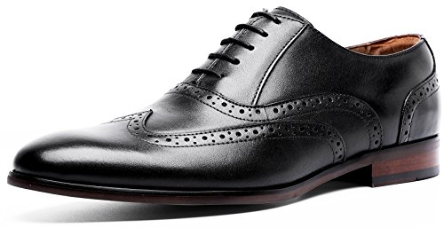 Men's Leather Dress Shoes Brogue Perforated Wing-Tip Oxford (11 M US, Black)