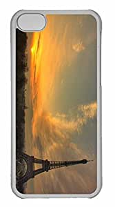 iPhone 5C Case, Personalized Custom Eiffel Tower At Sunset for iPhone 5C PC Clear Case