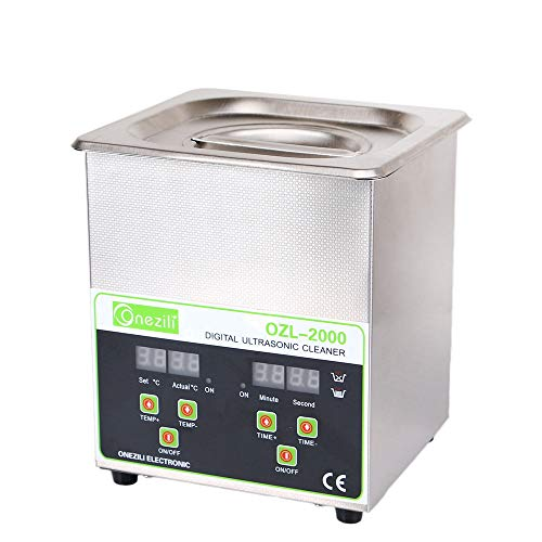 Digital Ultrasonic Jewelry Cleaner Heated,ONEZILI 2L 60W Professional Industrial Ultrasonic Cleaner for Jewelry Watches Denture Injector Circuit Board Gun Parts Labs Fittings Coins