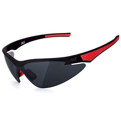 MEETLOCKS Sports Sunglasses for Men, UV400 Ultra Light Frame, for Biking Cycling Running Fishing Training Baseball Golf ()