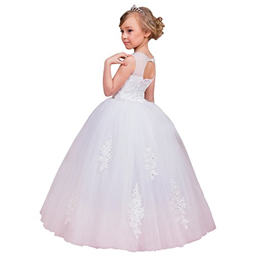 de Abaowedding blanco vestido muchacha la E44q0HnT