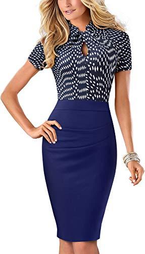 HOMEYEE Women's Short Sleeve Business Church Dress B430 (6, Dark Blue+Diamond)