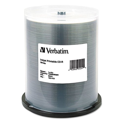 verbatim-700mb-52x-80-minute-white-inkjet-printable-recordable-disc-cd-r-100-disc-spindle-95251-pack