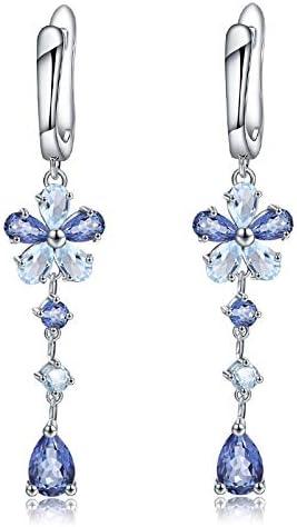 AdronQ Pendientes de Gota de Flor de Plata de Ley 925 de Cuarzo místico Azul Cielo Azul Natural para