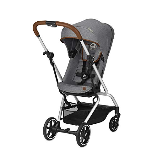 CYBEX Gold - Silla de Paseo Eezy S Twist+, Asiento reversible 360°, Ultracompacta, Ligera, de 0 a 17 kg (4 anos aprox), Coleccion denim, Manhattan Grey