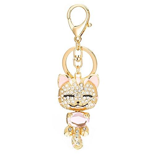 Cat Crystal Keychain Rhinestone Car Key Bag Charm Pendant Car Accessories ()