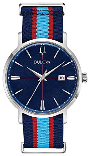 - Bulova 96B315 Aerojet Men's Watch Blue/Red Stripes 39mm Stainless Steel