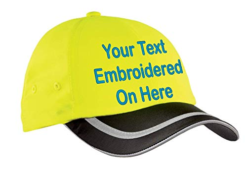 Custom Hat, Embroidered. Your Own Text. Adjustable Back. Curved Bill (Safety Yellow/Black Reflective Taped Unstructured)
