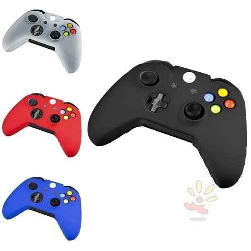 Xbox one controller skin slicone,Konsait 4 Pack Soft Silicone Gel Rubber Grip Controller Protecting Cover For Xbox One - Black/Red/Blue/White - Slicone Skin
