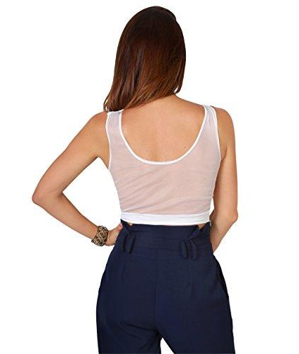 KRISP Crop Top Mujer Corto Transparente Hombros Ombligo Camiseta Verano Blanco