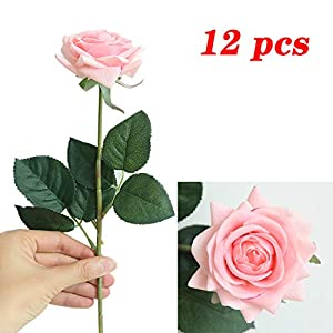 JOEJISN Artificial Flower Roses Fake Roses 12pcs Real Touch Artificial Roses Silk Artificial Roses Long Stem Bridal Wedding Bouquet for Home Garden Office Wedding Decorations (Light Pink)