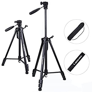 Camera Tripod - Camopro 62 Inches Lightweight Aluminum Alloy Portable Travel Tripod with Carry Bag for SLR DSLR Camcorder Camera Video DV Microphones Binoculars Telescopes GoPro devices - Tripod