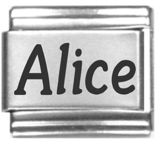 Alice Laser Name Italian Charm Link