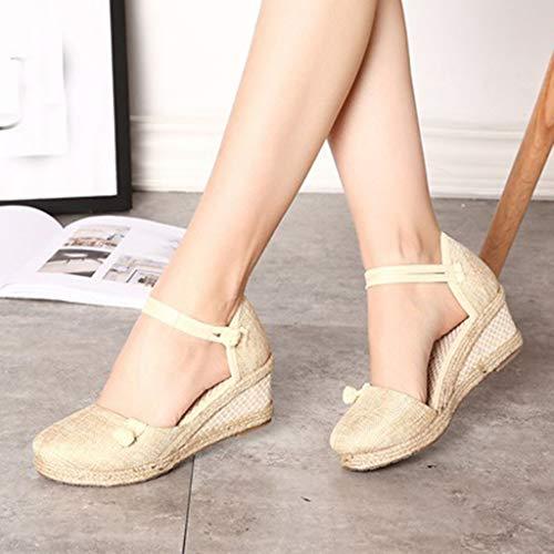 De Rétro Sandales Casual Simples Chaussures Dames Beige Toe Wedge Lin Round Toile Femmes 6FpAwtxAq