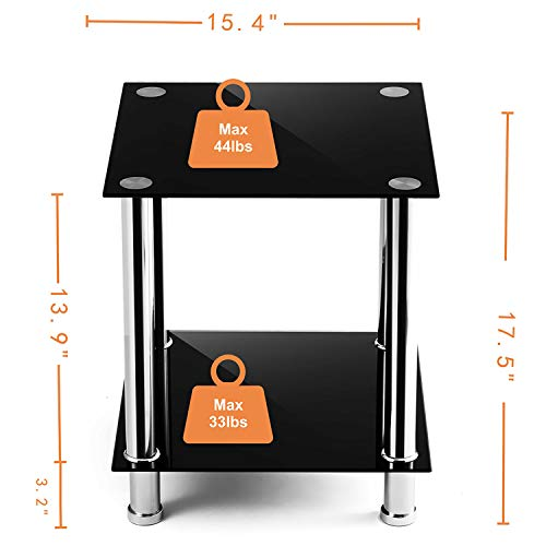 - TAVR Glass Square End Table Set of 2 Industrial Night Stand Side Corner Coffee Table with Tempered Glass Shelves for Living Room Bedroom, Stainless Chrome Frame and Easy Assembly,Black ET5001