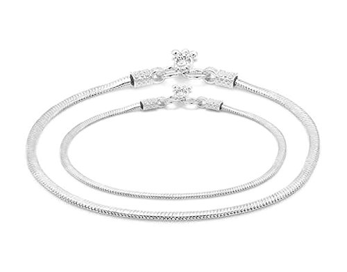 D&D Crafts Sterling Silver Link Anklets For Girls, Women by D&D