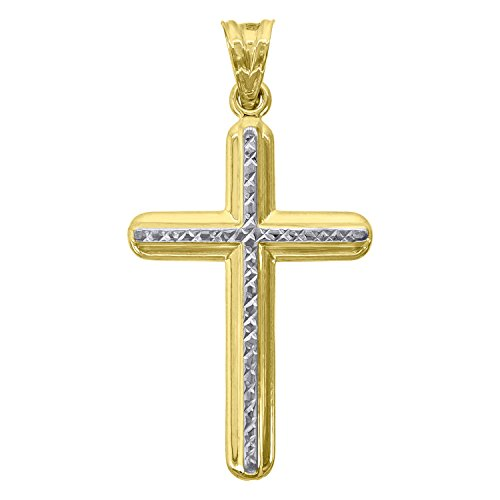 Jewels By Lux 10kt Gold Two-tone DC Polished Mens Cross Ht:41.5mm x W:21.8mm Religious Charm Pendant.