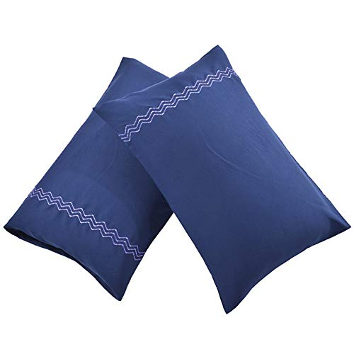AIFUSI Set of 2 Pillow Case,Embroidery Bedding Pillow Covers Cotton Pillowcase Thread Count Pillow Cases - Standard, Navy