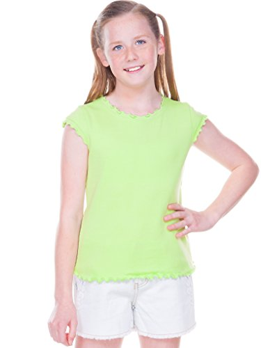 Kavio! Big Girls 7-16 Lettuce Edge Scoop Neck Cap Sleeve Top Lime S