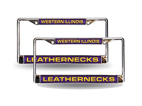 Western Illinois Leathernecks Chrome Metal (2) Laser Cut License Plate Frame Set - Western Illinois Leathernecks Car