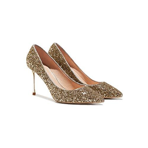 Femmes Talons Escarpins Sexy Mode Or Mariée Chaussures De Mariage Chaussures En Cuir Chaussures Discothèque Fête Gold(8.5cm) o5HH9tEH63