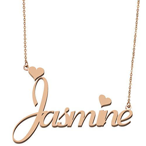Aoloshow Customized Custom Name Necklace Personalized - Custom Made Jasmine Necklace Initial Monogrammed Gift for Womens Girls (My Best Friends Girl Jasmine)