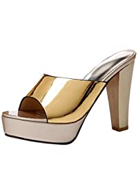KemeKiss Women Peep Toe Mules High Heel Slide Sandals Dress Shoes