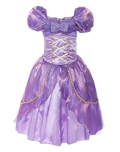 ReliBeauty Girls Puff Sleeve Princess Dress Costume (4T-4, Purple) (Tangled Rapunzel Dress)